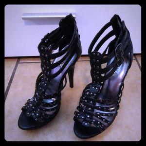 Black stud strappy high heel
